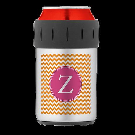 Hot Pink Orange Monogram Thermos® Can Cooler