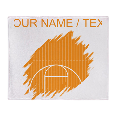 Custom orange basketball court throw blanket by for Custom basketball court cost