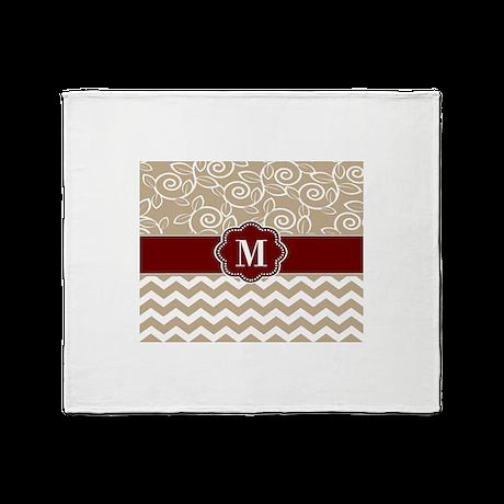 Beige Red Chevron Monogram Throw Blanket