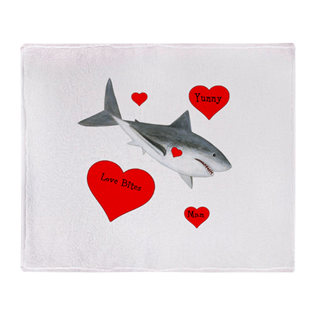 Personalized Shark Valentine Throw Blanket
