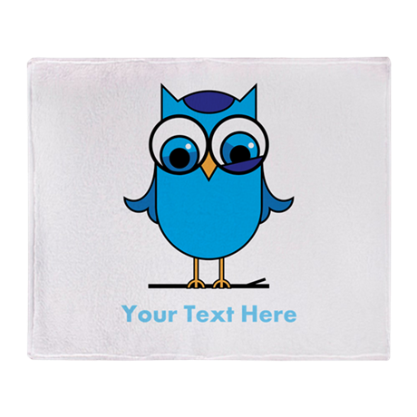 Personalized Blue Owl Throw Blanket