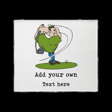 Golf Cartoon, Custom Text Throw Blanket