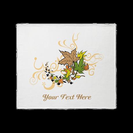 Autumn Leaves, Custom Text Throw Blanket