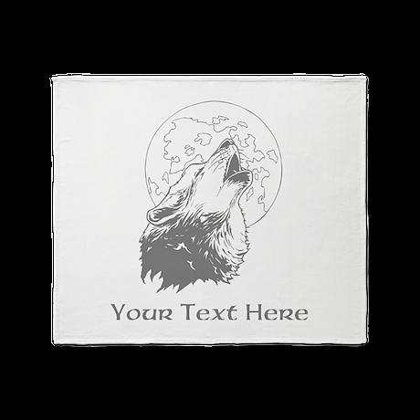Wolf and Moon. Custom Text. Throw Blanket