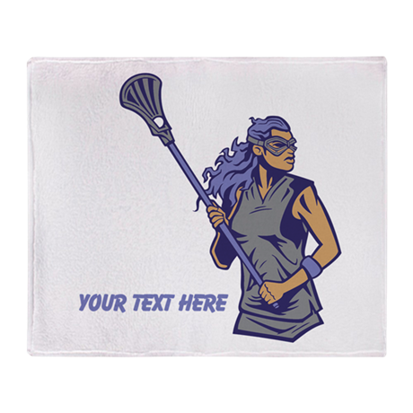Lacrosse Lady. With Your Text Throw Blanket