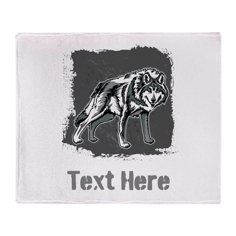 Gray Wolf and Writing. Throw Blanket