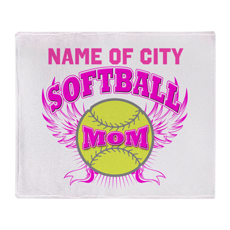 Personalize Softball Mom Throw Blanket