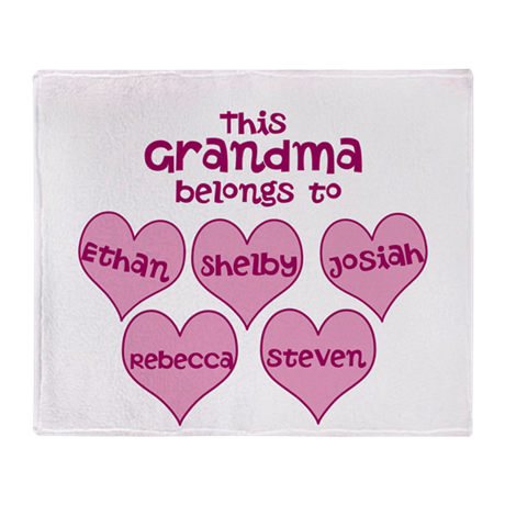 Personalized Grand kids hearts Throw Blanket