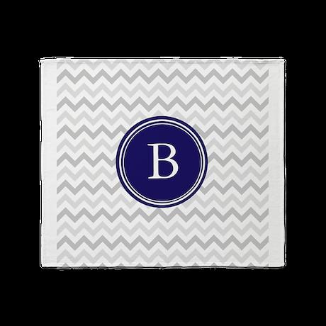 Navy monogram grey chevron Throw Blanket