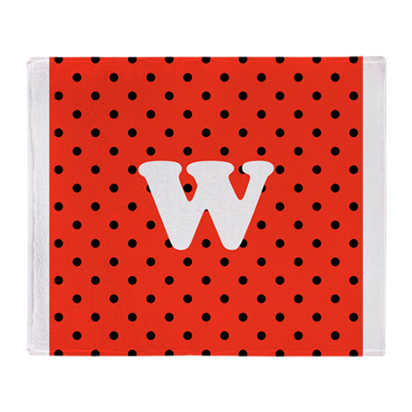 Your Letter on Red Polka Dot. Throw Blanket