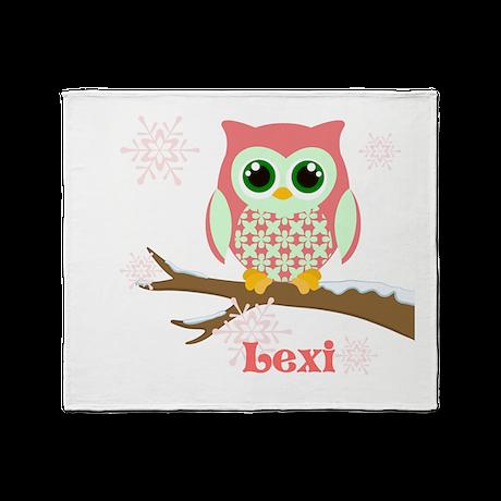 Custom name winter owl girl Throw Blanket