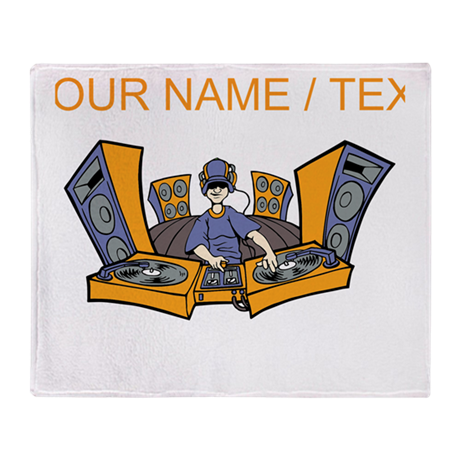 Custom Cartoon DJ Booth Throw Blanket