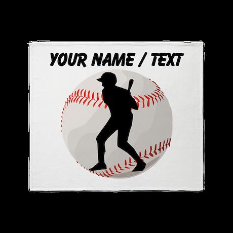 Custom Baseball Batter Silhouette Throw Blanket