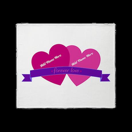 Forever Love Heart Names Throw Blanket