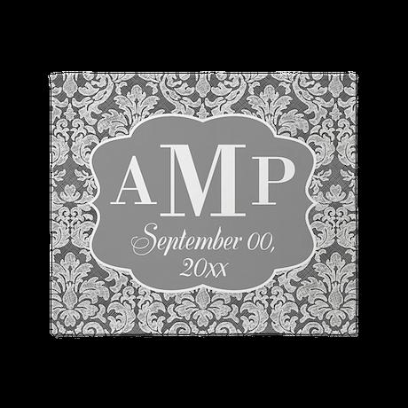 Lace Monogram Wedding - black white Throw Blanket