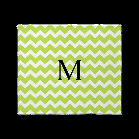 Lime Green Chevron Monogram Throw Blanket