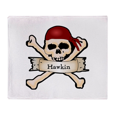 Personalized Pirate Skull Throw Blanket