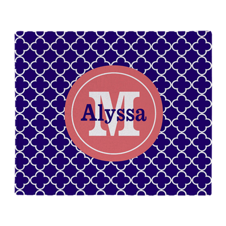 Navy Blue Coral Quatrefoil Personalized Throw Blan