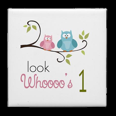 Custom Owl Birthday Tile Coaster