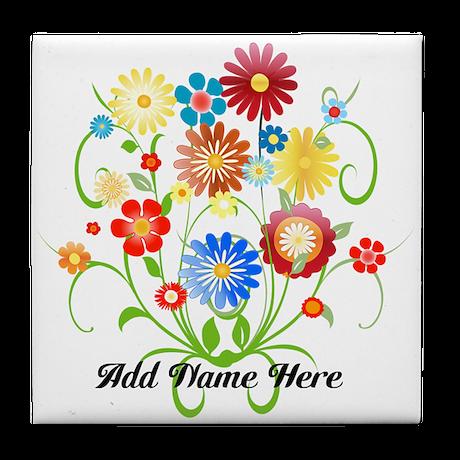 Personalized floral light Tile Coaster