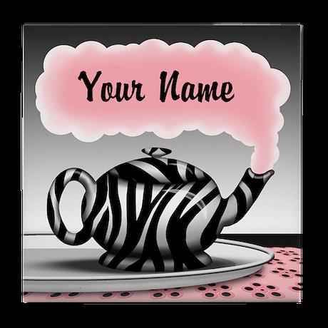 Zebra Print Teapot Pink Personalized Tile Coaster
