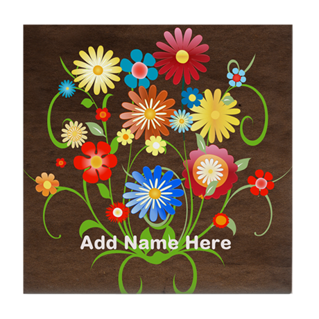 Personalized floral Tile Coaster