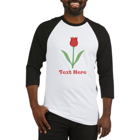 Dark Red Tulip and Text. Baseball Jersey