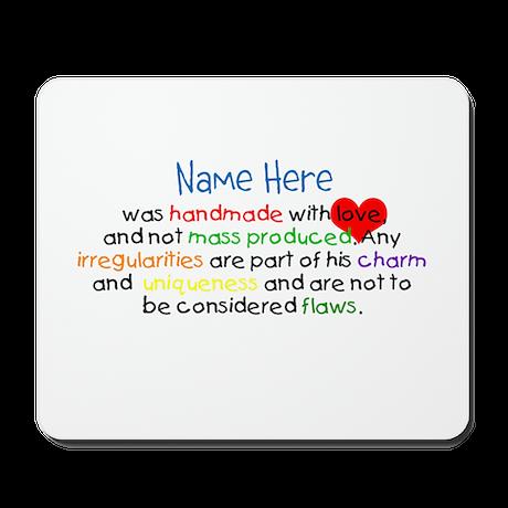 Handmade With Love Boys Customised Mousepad