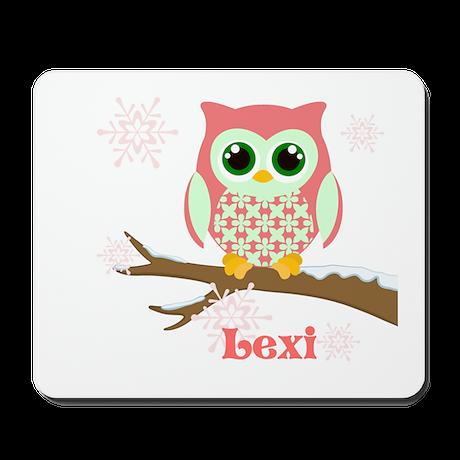 Custom name winter owl girl Mousepad