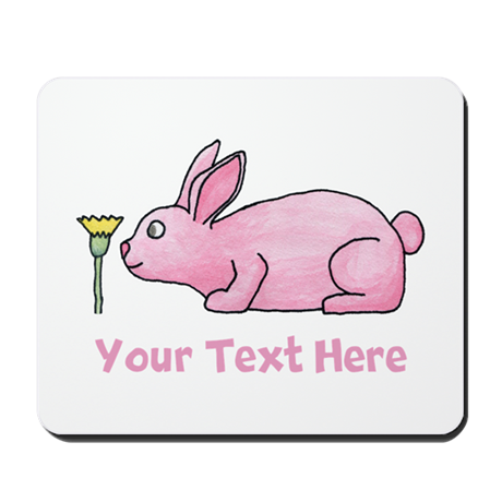 Pink Rabbit, Custom Text. Mousepad