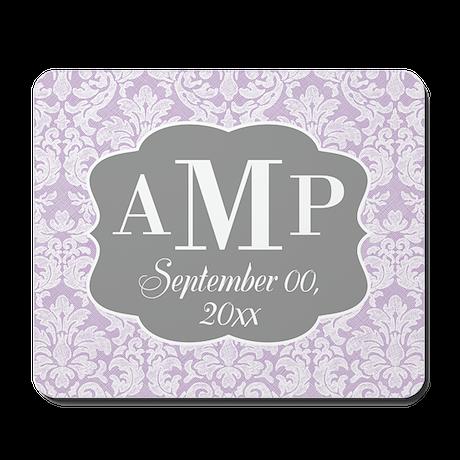 Lace Monogram Wedding - lavendar Mousepad