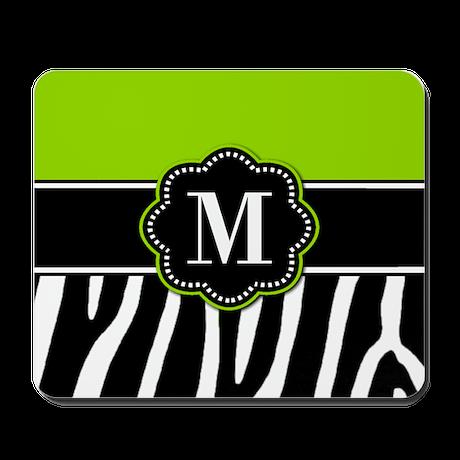 Lime Green Zebra Monogram Mousepad