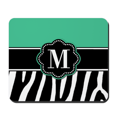 Teal Zebra Print Monogram Mousepad