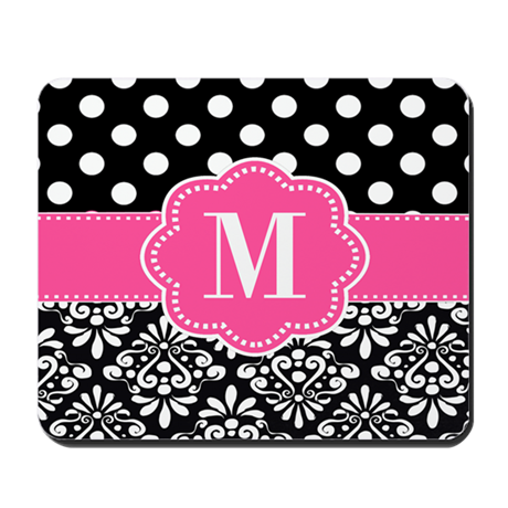Pink Black Damask Dots Monogram Mousepad