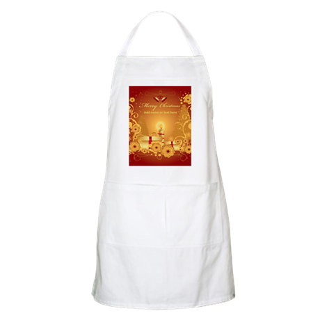 Luxury gold and red Merry Chr Apron