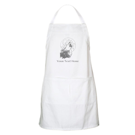 Wolf and Moon. Custom Text. Apron