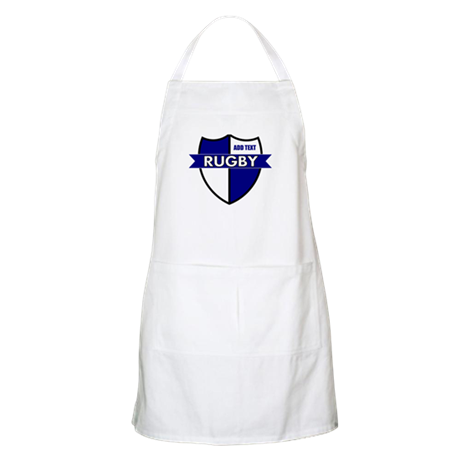 Rugby Shield White Blue Apron