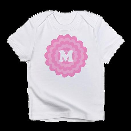 Your Letter on Pink Flower. Infant T-Shirt