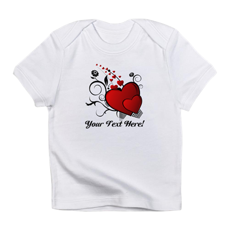 Personalized Red/Black Hearts Infant T-Shirt
