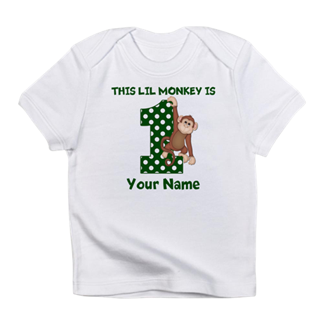 1st Birthday Monkey Green Infant T-Shirt