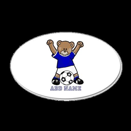 Cute Personalized soccer bear 20x12 Oval Wall Deca