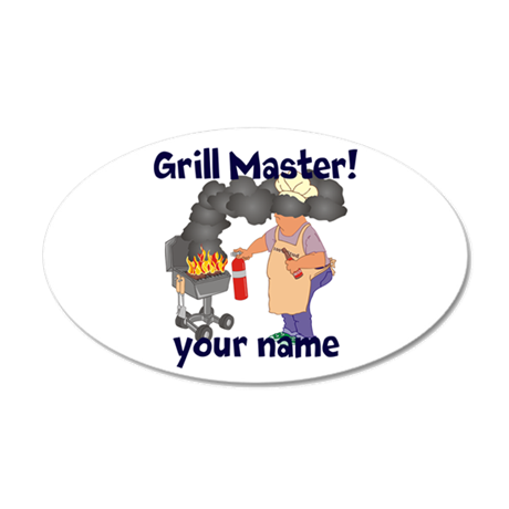 Personalized Grill Master 35x21 Oval Wall Decal