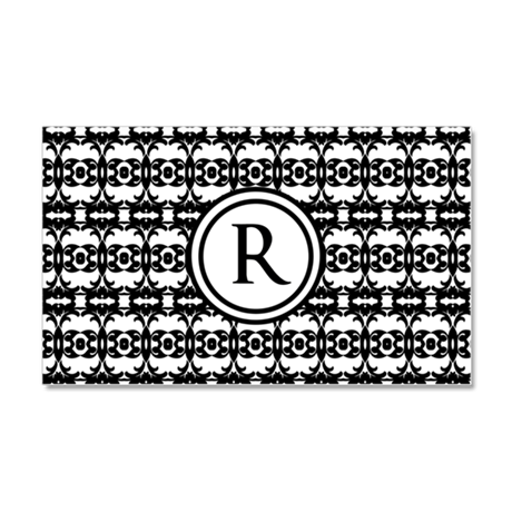 Personalized Monogram Black and white patterned de