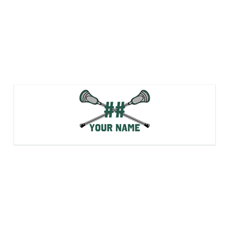 Personalized Crossed Lacrosse Sticks Green 20x6 Wa