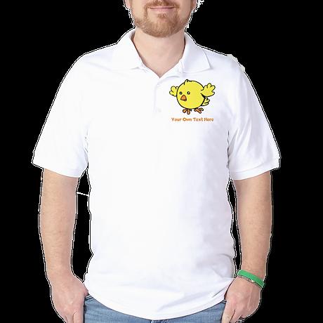 Cute Bird. Orange Text Golf Shirt