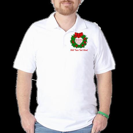Add Your Own Text Wreath Golf Shirt