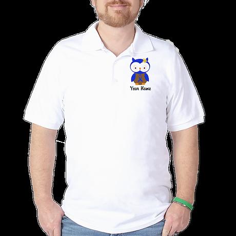 Blue Ribbon Owl Awareness Golf Shirt