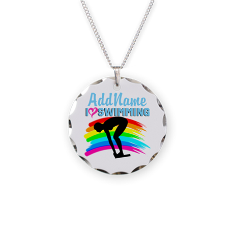 LOVE SWIMMING Necklace Circle Charm