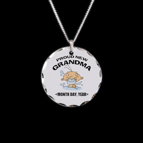 Proud New Grandma Personalized Necklace Circle Cha