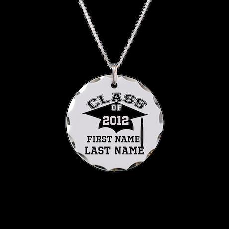 Customizable Senior Necklace Circle Charm